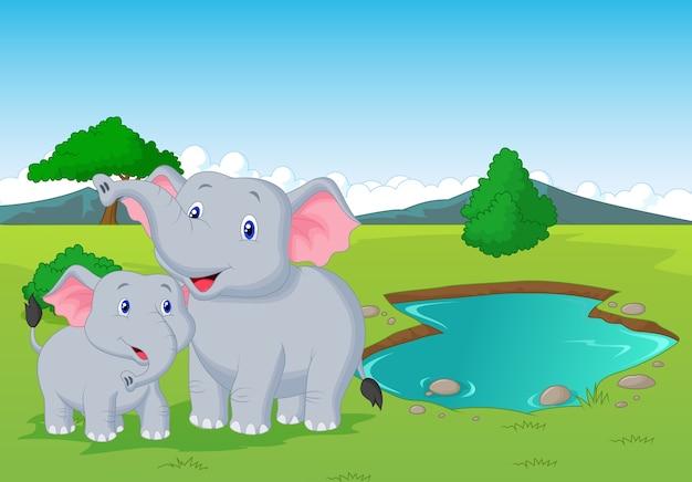 Cartoon elephant family near water hole