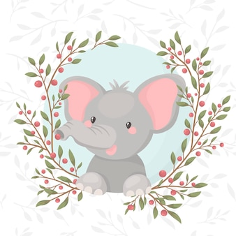 Cartoon elephant in green wreath with berries