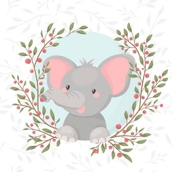 딸기와 녹색 화 환에 만화 코끼리