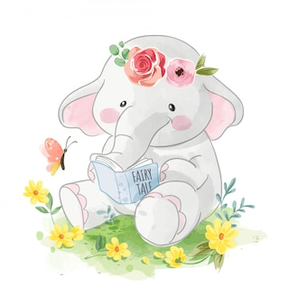 Cartoon elephant reading a book in the garden