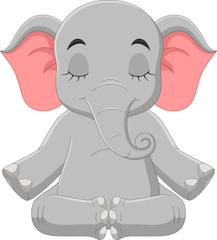 座って瞑想する漫画の象