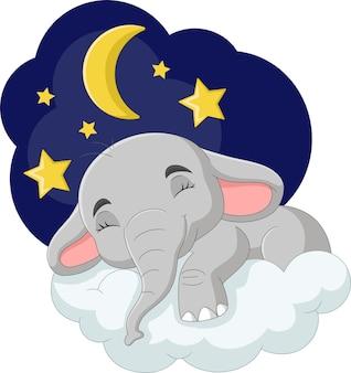 Cartoon elephant sleeping on the cloud