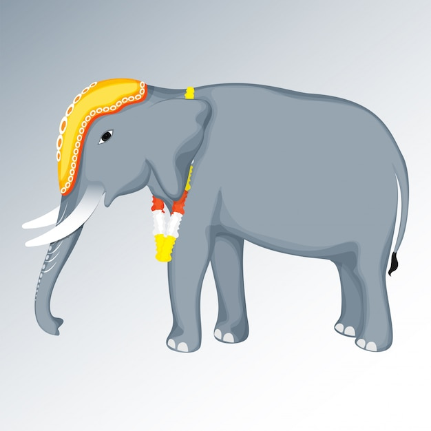 Cartoon elephant wearing floral garland on glossy grey background.