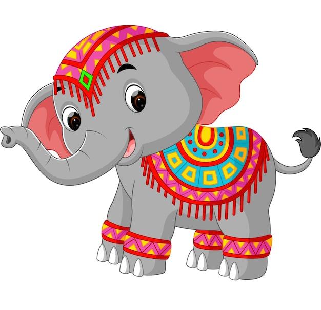 Мультяшный слон с традиционным костюмом