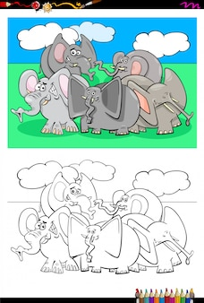 Cartoon  of elephants coloring book