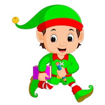 Cartoon elf holding book and pencil