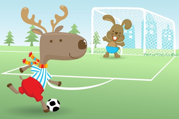 Cartoon of elk with rabbit playing soccer in soccer field