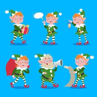 漫画のエルフセット。サンタクロースはかわいいキャラクターを助けます。クリスマスのデザイン要素。青い背景で隔離のベクトルイラスト。