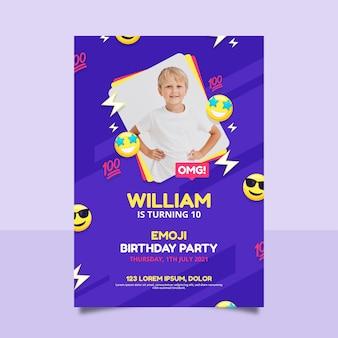 Modello dell'invito di compleanno di emoji del fumetto con la foto