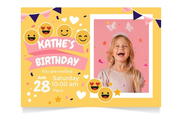 Cartoon emoji birthday invitation template with photo