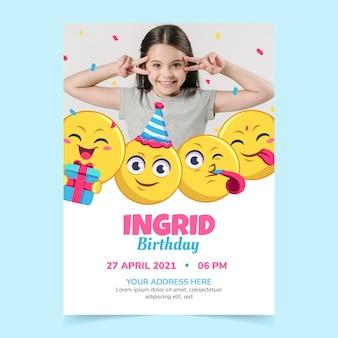 Шаблон приглашения на день рождения мультфильма смайликов с фото