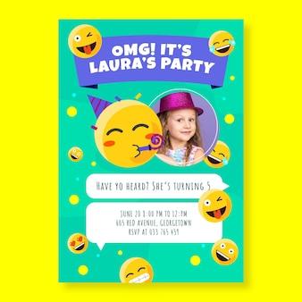 Modello di invito di compleanno emoji dei cartoni animati con foto