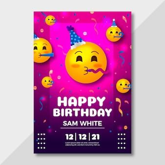 Modello di invito di compleanno emoji del fumetto