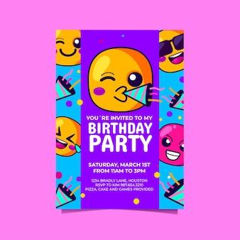 Cartoon emoji birthday invitation template
