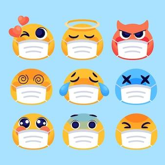 Emoji dei cartoni animati con pacchetto di maschere per il viso