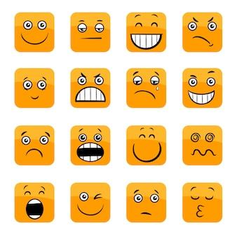Cartoon emoticons or facial emotions set