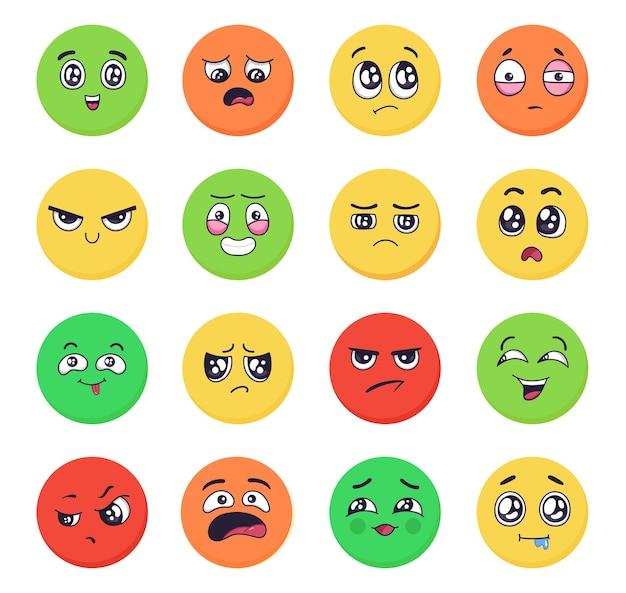 만화 감정은 화난 슬픈 행복과 기쁨 얼굴 제스처 벡터로 이모티콘 표정을 설정합니다.