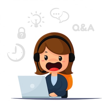 Cartoon employee and operator is responsible for contacting customers and providing advice.