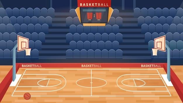 Cartoon empty hall field to play basketball team game hoop for balls and seats for fan sector