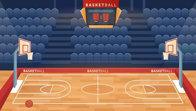 Мультяшное пустое поле в зале для игры в баскетбольную команду, игровое кольцо для мячей и сиденья для фан-сектора