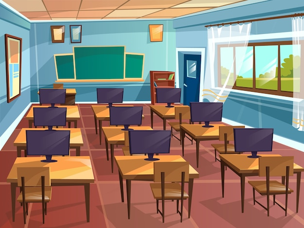 Cartoon empty high school college university computer science classroom background