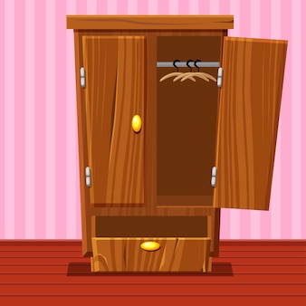 Cartoon empty open wardrobe, living room wooden furniture
