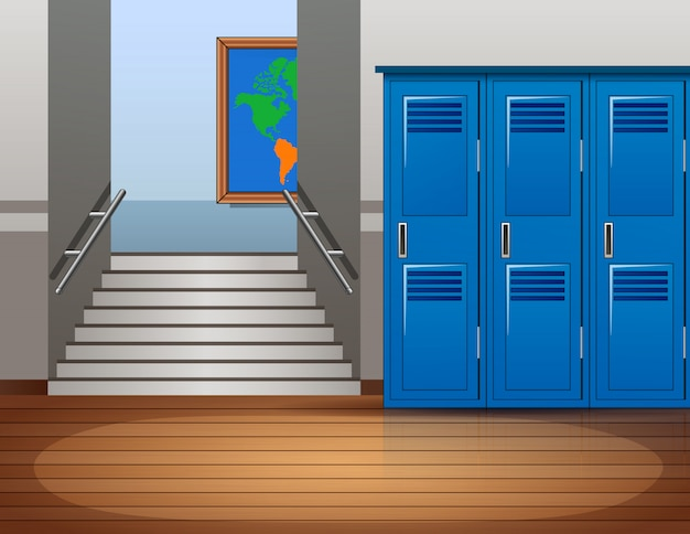 Cartoon empty school interior