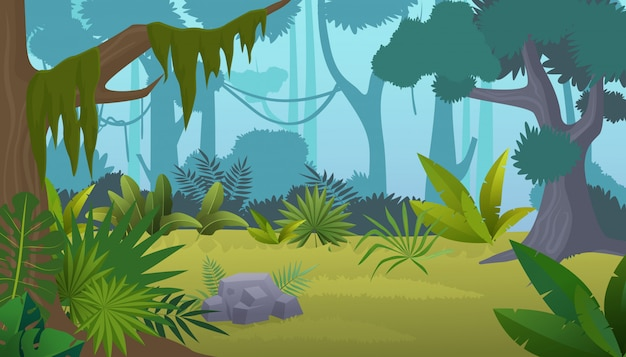 Cartoon empty tropical rainforest jungle background.