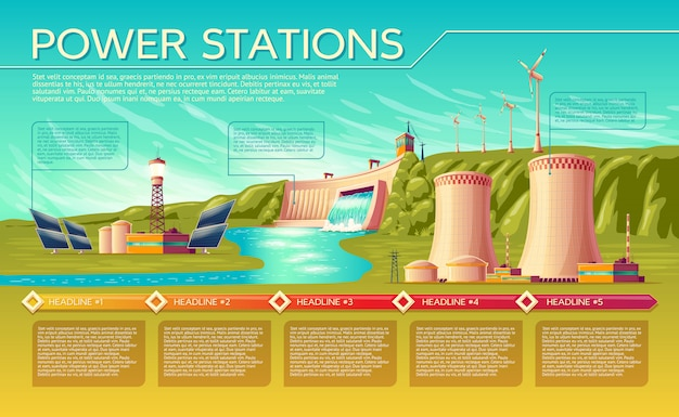 Cartoon energy stations alternative, renewable traditional infographics template