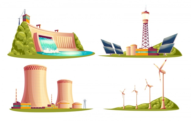 Cartoon energy stations - alternative, renewable traditional.