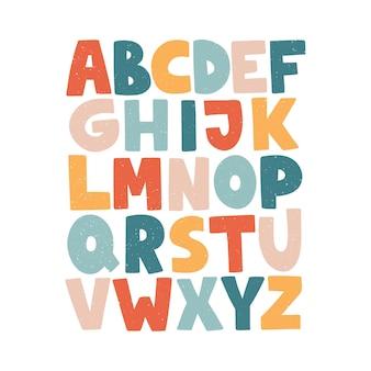 漫画の英語のアルファベット。 abc。面白い手描きのグラフィックフォント。大文字。