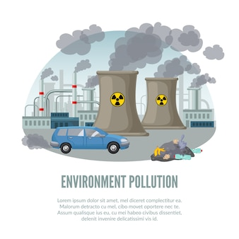 Cartoon environmental illustration pollution