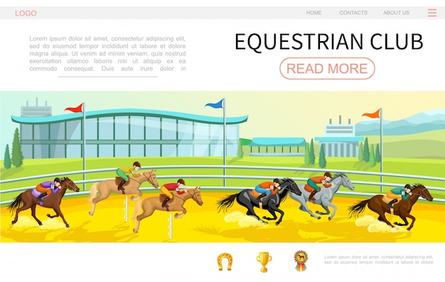 Cartoon equestrian competition web page template with jockeys riding horses on stadium horseshoe cup medal icons
