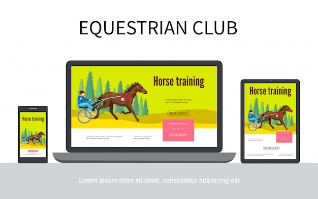 Cartoon equestrian sport adaptive design web template  with jockey riding horse in chariot on laptop mobile tablet screens isolated