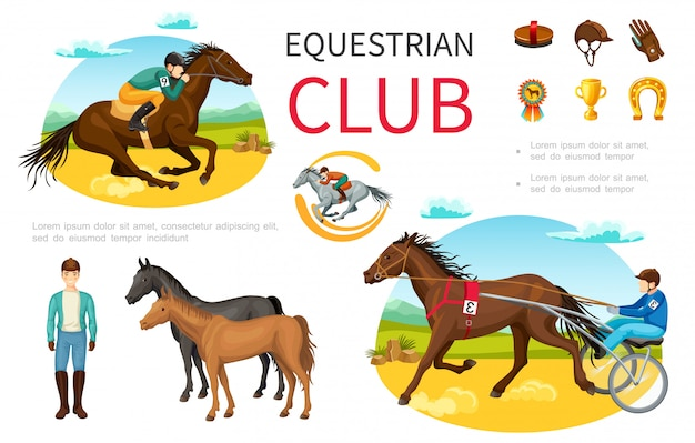 Cartoon equestrian sport elements set with jockey riding horse brush cap leather gloves medal trophy horseshoe