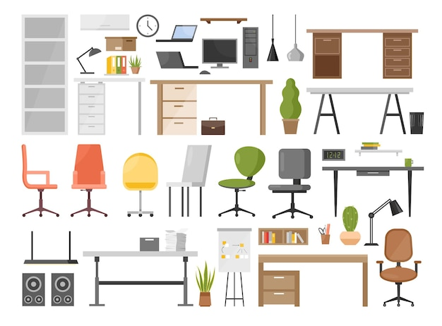 Cartoon ergonomic furnishing objects for modern interior  office furniture set