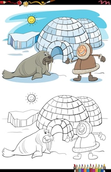 Cartoon eskimo with igloo and walrus coloring book page