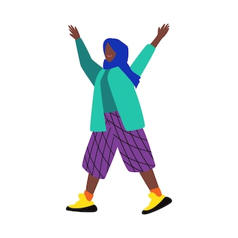 Cartoon ethnic female character in colorful clothes and traditional headscarf