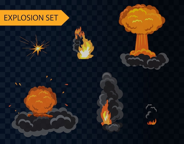 Cartoon explosion animation effect set with smoke.