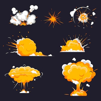 Cartoon explosions collection bomb, dynamite explosions, danger.
