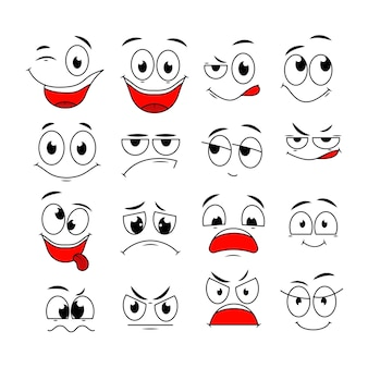 Cartoon expressions. cute face elements eyes and mouths with happy, sad and angry, disbelief emotions. caricature vector characters. angry expression emotion, happy sketch and laugh illustration