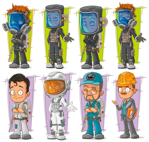 Cartoon exterminator with gas mask character set