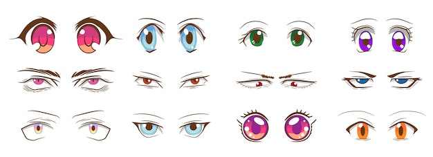 Cartoon eyes vector set collection graphic clipart design