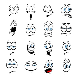 얼굴 표정과 감정을 가진 만화 눈. 귀여운 미소 이모티콘. 벡터 이모티콘 요소 미소, 행복, 슬픔, 분노, 미친, 어리 석음, 충격, 만화, 화가, 어리석은 무서워 몰래 놀란