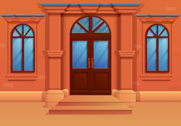 Cartoon facade of an old house, vector illustration