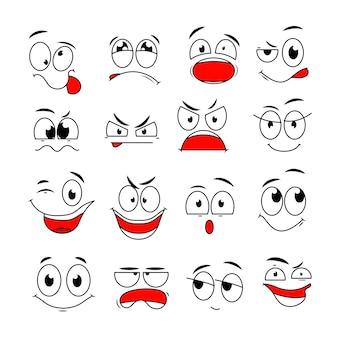 만화 얼굴 표현. 행복하고 슬프고 화가 났으며 놀라운 감정을 가진 재미있는 만화 눈과 입. 낙서 문자 세트. 그림 행복한 미소와 화가 슬픈 감정