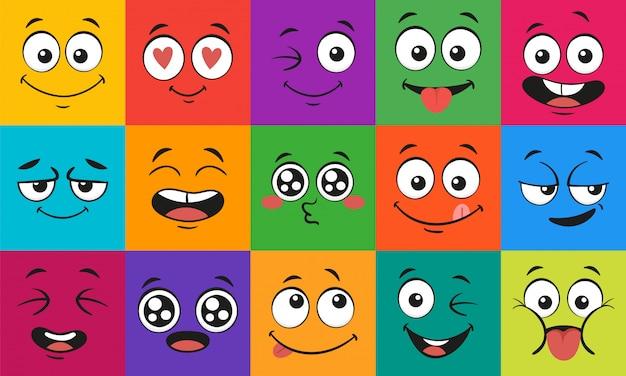 만화 얼굴 표정. 행복 놀란 얼굴, 낙서 문자 입과 눈 그림 세트