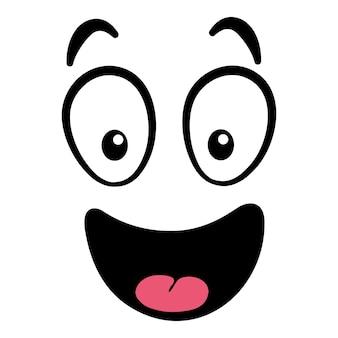Мультяшное лицо. выразительные глаза и рот, улыбка, плач и удивленное выражение лица персонажа. карикатура комические эмоции или смайлик каракули. изолированные векторные иллюстрации значок