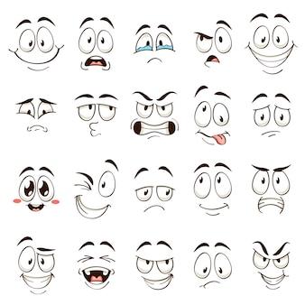 漫画の顔。さまざまな表情の似顔絵コミックの感情。表情豊かな目と口、怒っている面白いキャラクター、混乱した絵文字セット