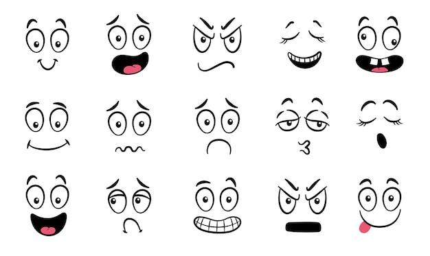 만화 얼굴입니다. 표현적인 눈과 입, 웃고, 울고, 놀란 캐릭터 얼굴 표정. 캐리커처 만화 감정 또는 이모티콘 낙서. 격리 된 벡터 일러스트 아이콘을 설정합니다.